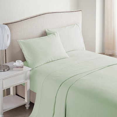 Jessy 400 Thread Count 4 Piece Sheet Set Color: Green, Size: Queen
