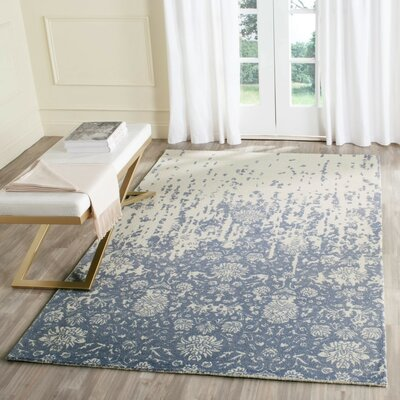 Ellicottville Hand-Tufted Ivory/Blue Area Rug Rug Size: Rectangle 2 x 3