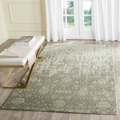 Kais Hand-Tufted Light Sage / Gray Area Rug Rug Size: Round 6