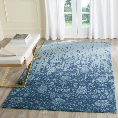 Ellicottville Hand-Tufted Blue Wool Area Rug Rug Size: Square 6