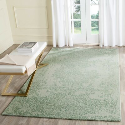 Ellicottville Hand-Tufted Gray/Turquoise Area Rug Rug Size: Rectangle 4 x 6