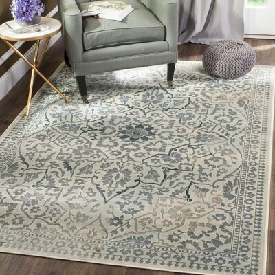 Malakoff Cream/Light Blue Area Rug Rug Size: Rectangle 4 x 57