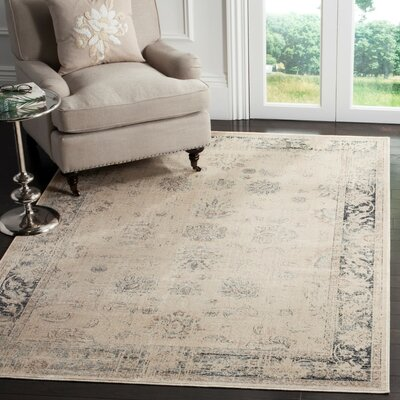 Malakoff  Cream/Blue Area Rug Rug Size: Rectangle 67 x 92