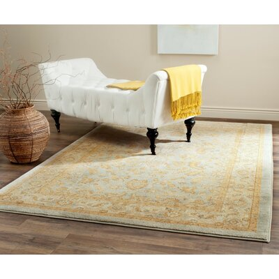 Erwin Light Blue/Gold Area Rug Rug Size: Rectangle 53 x 76