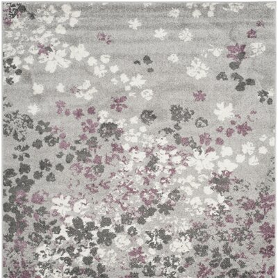 Ales Light Grey/Purple Area Rug Rug Size: Square 6