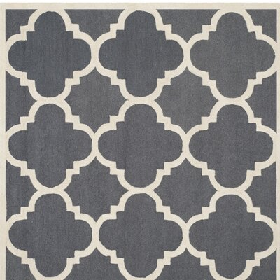 Blakemore Hand-Tufted Dark Grey/Ivory Area Rug Rug Size: Square 6