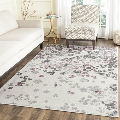 Ales Ivory/Gray/Purple Area Rug Rug Size: 4 x 6