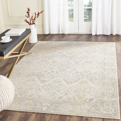 Montelimar Ivory/Grey Area Rug Rug Size: Rectangle 51 x 76