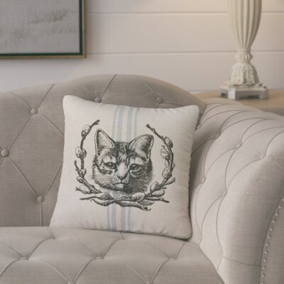 Amiens Cat Striped Throw Pillow