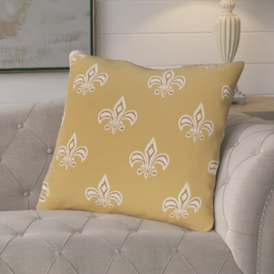 Glane Fleur de Lis Ikat Print Throw Pillow Color: Orange