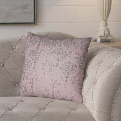 Chapelle Throw Pillow Size: 20 H x 20 W x 4 D, Color: Pink/Gray