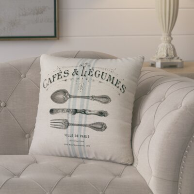 Murier Paris Cafe Linen Throw Pillow