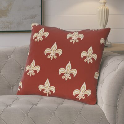 Glane Fleur de Lis Ikat Print Throw Pillow Color: Gold