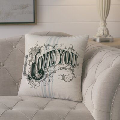 Murier de Mai I Love You Linen Throw Pillow