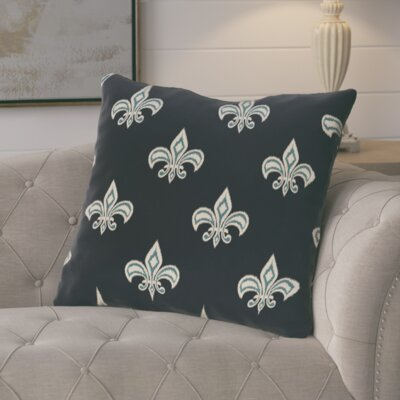 Glane Fleur de Lis Ikat Print Throw Pillow Color: Navy Blue
