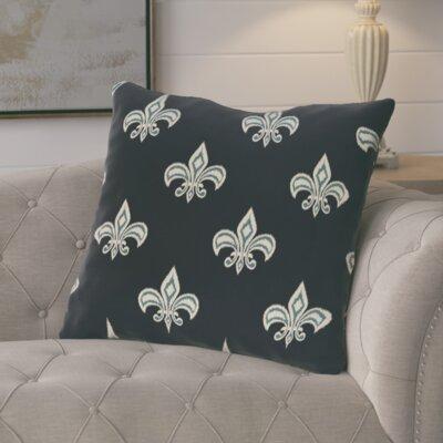 Glane Fleur de Lis Ikat Print Throw Pillow Color: Navy Blue