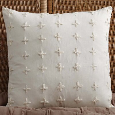 Adella 100% Cotton Throw Pillow Color: Creme