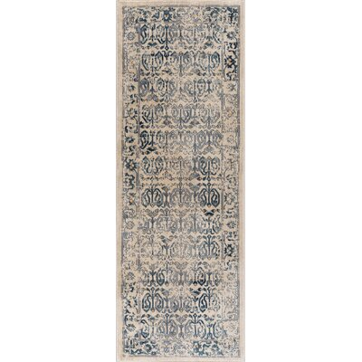 Aquila Cream/Blue Area Rug Rug Size: Runner 27 x 73