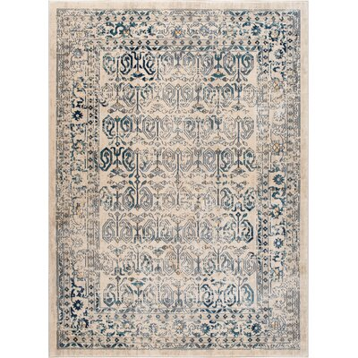 Aquila Cream/Blue Area Rug Rug Size: 53 x 73