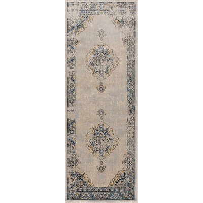 Aquila Traditional Cream/Blue Area Rug Rug Size: Runner 27 x 73