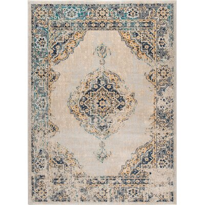 Aquila Traditional Cream/Blue Area Rug Rug Size: 53 x 73