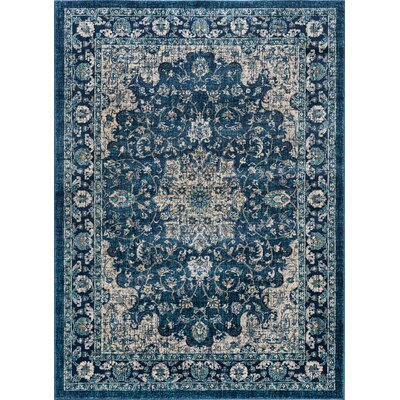 Aquila Traditional Navy/Cream Area Rug Rug Size: 53 x 73