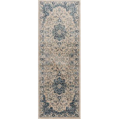 Aquila Medallion Cream/Blue Area Rug Rug Size: Runner 27 x 73