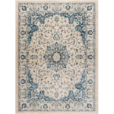 Aquila Medallion Cream/Blue Area Rug Rug Size: 710 x 103