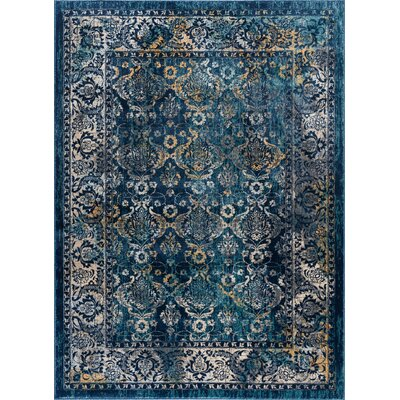 Emmy Navy Area Rug Rug Size: 53 x 73