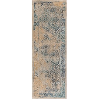 Aquila Blue/Yellow & Gold Area Rug Rug Size: Runner 27 x 73