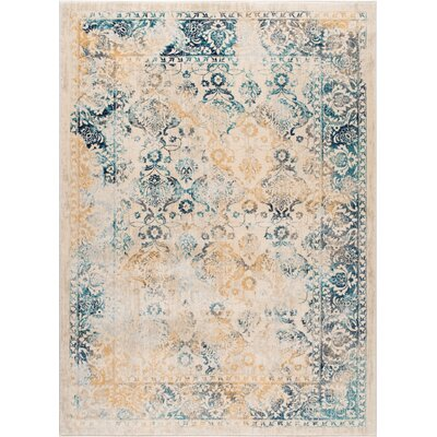 Aquila Blue/Yellow & Gold Area Rug Rug Size: 53 x 73