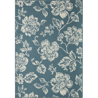 Kofi Blue/Ivory Indoor/Outdoor Area Rug Rug Size: 18 x 37