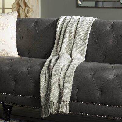 Leny Cotton Viscose Throw Blanket Color: Gray