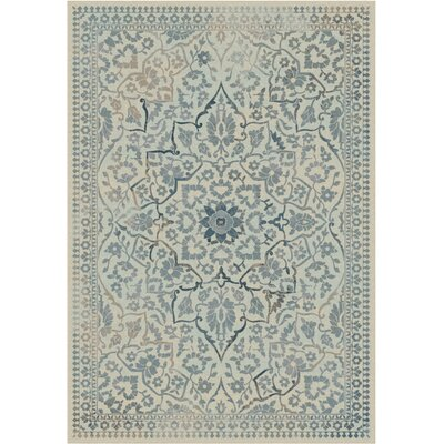 Malakoff Cream/Light Blue Area Rug Rug Size: 53 x 76