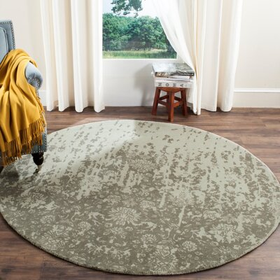 Ellicottville Hand-Tufted Light Sage / Gray Area Rug Rug Size: Round 6