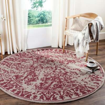 Ellicottville Hand-Tufted Silver/Purple Area Rug Rug Size: Round 6