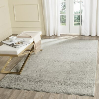 Montelimar Silver/Ivory Area Rug Rug Size: Rectangle 9 x 12