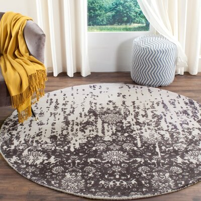 Ellicottville Hand-Tufted Brown/Gray Area Rug Rug Size: Round 6