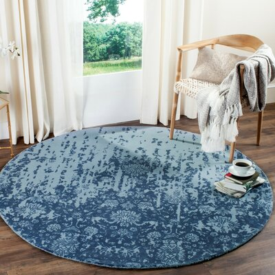 Ellicottville Hand-Tufted Blue Wool Area Rug Rug Size: Round 6