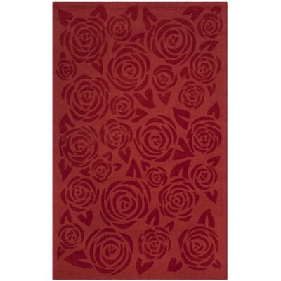 Block Rose Hand-Loomed Red Vermillon Area Rug Rug Size: 5' x 8'