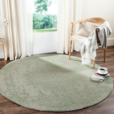 Ellicottville Hand-Tufted Gray/Turquoise Area Rug Rug Size: Round 6