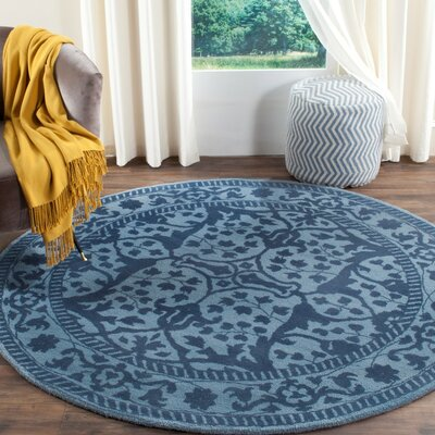 Ellicottville Hand-Tufted Navy Area Rug Rug Size: Round 6