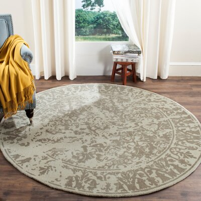 Ellicottville Hand-Tufted Brown/Cream Area Rug Rug Size: Round 6