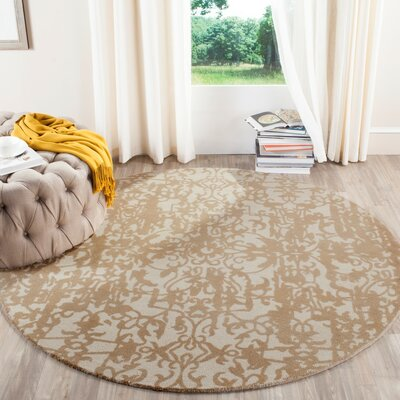Ellicottville Hand-Tufted Ivory/Sand Area Rug Rug Size: Round 6