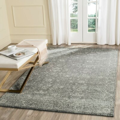 Montelimar Gray/Ivory Area Rug Rug Size: Rectangle 5 x 5