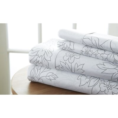 Ivana Vine Sheet Set Color: Gray, Size: King
