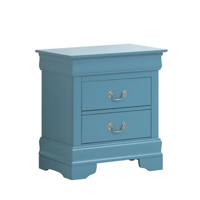 Mayssa 2 Drawer Nightstand Color: Teal