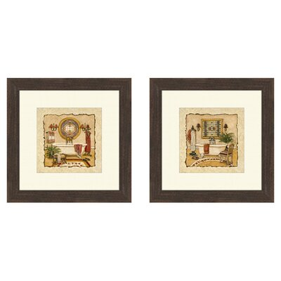 Art Deco 2 Piece Framed Painting Print Set