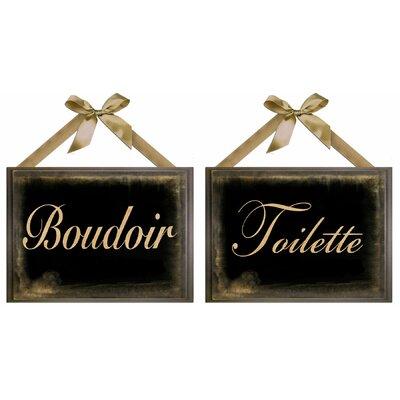 'Boudoir Giclée' 2 Piece Framed Textual Art Plaque Set
