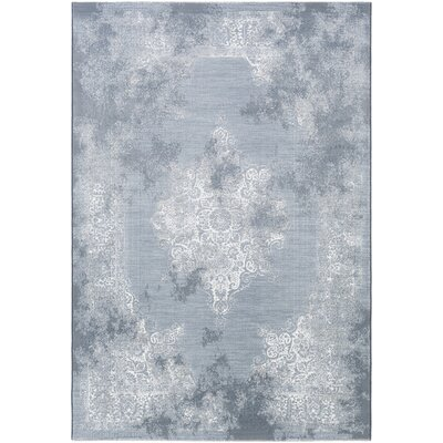 Jayson White/Blue Area Rug Rug Size: Rectangle 53 x 76